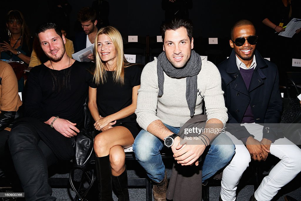 Valentin Chmerkovskiy, Lizzie Grubman, Maksim Chmerkovskiy and Eric West attend the Sergio Davila Fall 2013 fashion show during Mercedes-Benz Fashion Week at The Studio at Lincoln Center on February 7, 2013 in New York City.
