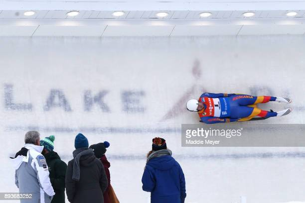Valentin Cretu of Romania completes his second run in the Men's competition of the Viessmann FIL Luge World Cup at Lake Placid Olympic Center on...