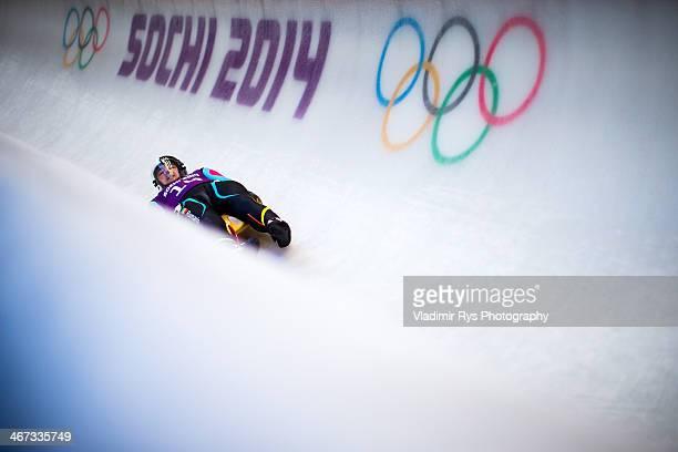 Valentin Cretu of Romania takes part at the Luge Men's Singles Training session ahead of the Sochi 2014 Winter Olympics at the Sanki Sliding Center...