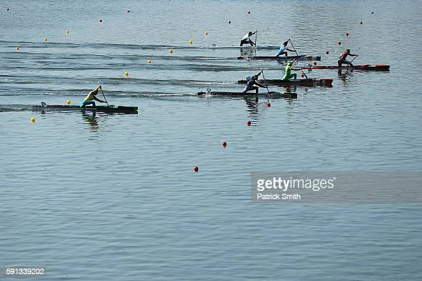 Valentin Demyanenko of Azerbaijan leads in the Men's Canoe Single 200m Heat 4 in the Men's Canoe Single 200m Heat 4 during Day 12 of the Rio 2016...