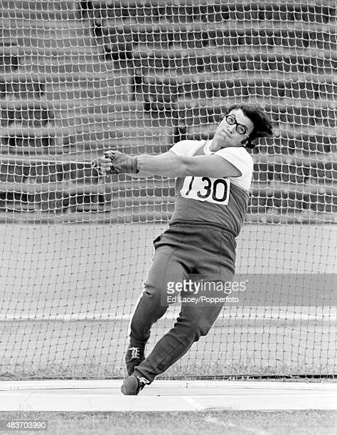 Valentin Dmitrenko of Russia throwing the hammer circa 1975