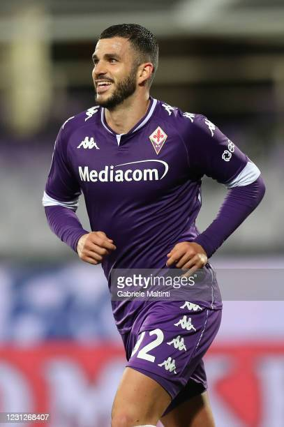 Valentin Eysseric of ACF Fiorentina smile during the Serie A match between ACF Fiorentina and Spezia Calcio at Stadio Artemio Franchi on February 19,...