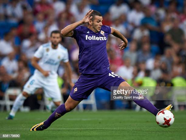 Valentin Eysseric of Fiorentina in action during the Trofeo Santiago Bernabeu match between Real Madrid and ACF Fiorentina at Estadio Santiago...