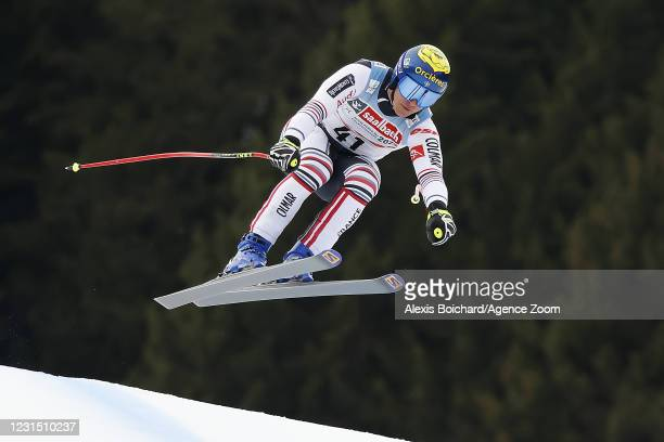 Valentin Giraud Moine of France in action during the Audi FIS Alpine Ski World Cup Men's Downhill Training on March 4, 2021 in Saalbach Austria.
