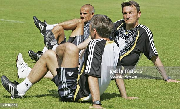 Valentin Ivanov of Russia stretches during FIFA Referee training session on June 24 2006 in NeuIsenburg Germany Ivanov will be responsible for the...