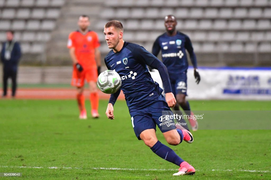 Valentin Lavigne of Paris FC during the Ligue 2 match between Paris FC and Bourg en Bresse (FBBP 01) at Stade Charlety on January 12, 2018 in Paris, France.
