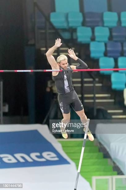 Valentin Lavillenie competes in the Men's Pole Vault final during the World Athletics Indoor Tour at Arena Stade Couvert on February 9, 2021 in...