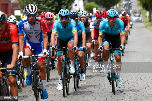 Valentin Madouas of France and Team GroupamaFDJ / Dmitriy Gruzdev of Kazakhstan and Astana Pro Team / Davide Ballerini of Italy and Astana Pro Team /...