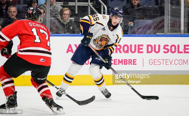 Valentin Nussbaumer of the Shawinigan Cataractes skates during his QMJHL hockey game at the Videotron Center on October 26, 2019 in Quebec City,...