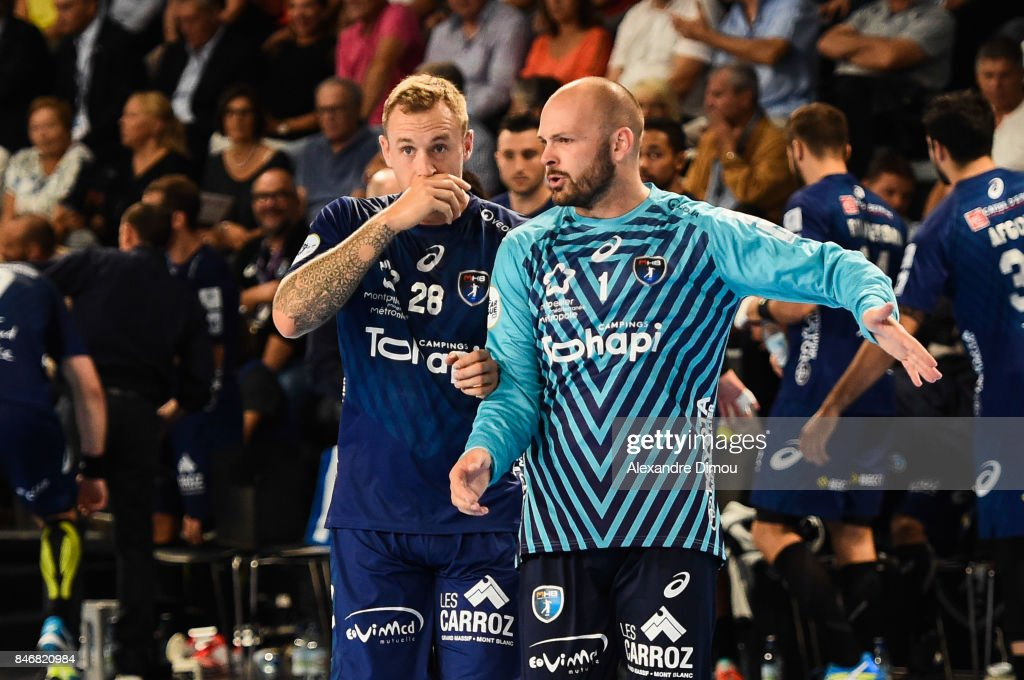 Valentin Porte and Vincent Gerard of Montpellier during Lidl Star Ligue match between Montpellier and Chambery on September 13, 2017 in Montpellier, France.