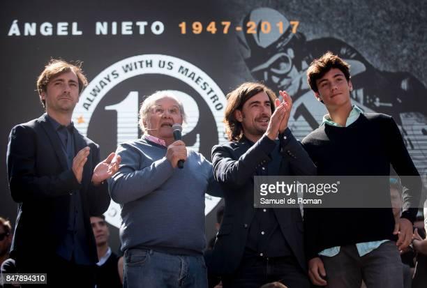 Valentin Requena Gelete Nieto Hugo Nieto and Pablo Nieto during the Funeral Tribute For Angel Nieto in Madrid on September 16 2017 in Madrid Spain