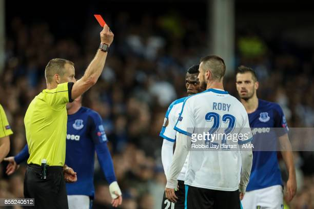 Valentin Romberge of Apollon Limassol gets a red card during the UEFA Europa League group E match between Everton FC and Apollon Limassol at Goodison...