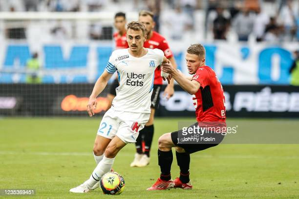 Valentin RONGIER of Marseille and Adrien TRUFFERT of Rennes during the Ligue 1 Uber Eats match between Marseille and Rennes at Orange Velodrome on...