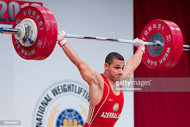Valentin Snezhev Hristov from Azerbaijan lifts in Snatch competition men's 62 kg Group A during the IWF World Weightlifting Championships at...