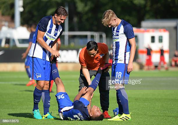 Valentin Stocker Allan and Sinan Kurt of Hertha BSC during the test match between Hertha BSC and AlJazira FC on august 6 2016 in Berlin Germany