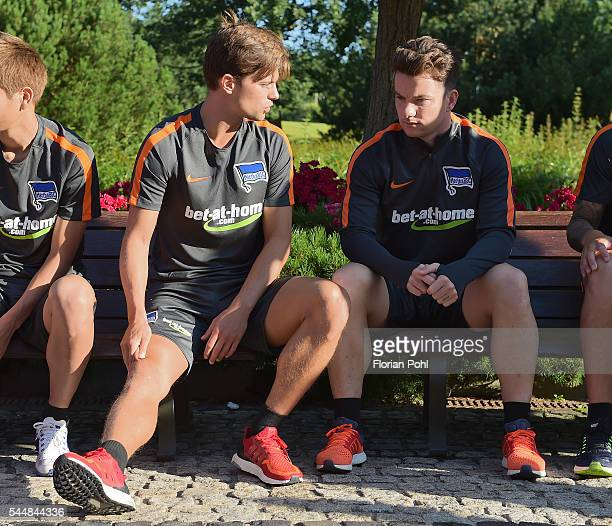 Valentin Stocker and Alexander Baumjohann of Hertha BSC during the training of Hertha BSC on july 4 2016 in Bad Saarow Germany