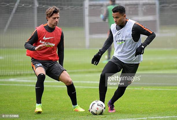 Valentin Stocker and Allan of Hertha BSC during the training session on October 17 2016 in Berlin Germany