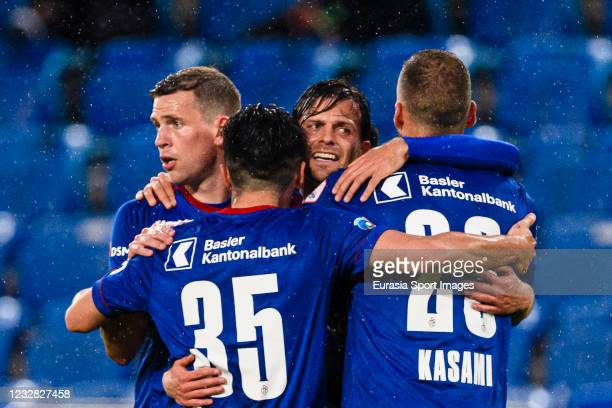 Valentin Stocker of Basel celebrates his goal with his teammates during the Swiss Super League match between FC Basel 1893 and FC Lugano at St....