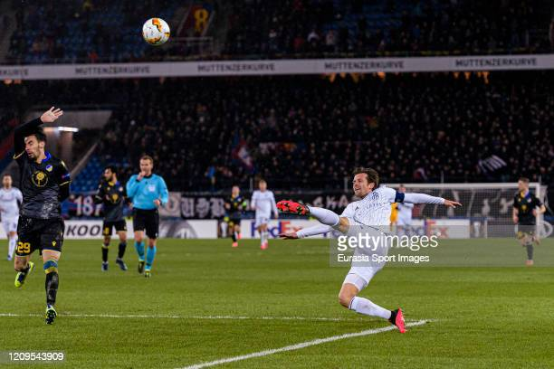 Valentin Stocker of Basel in action during the UEFA Europa League round of 32 second leg match between FC Basel and APOEL Nikosia at St JakobPark on...