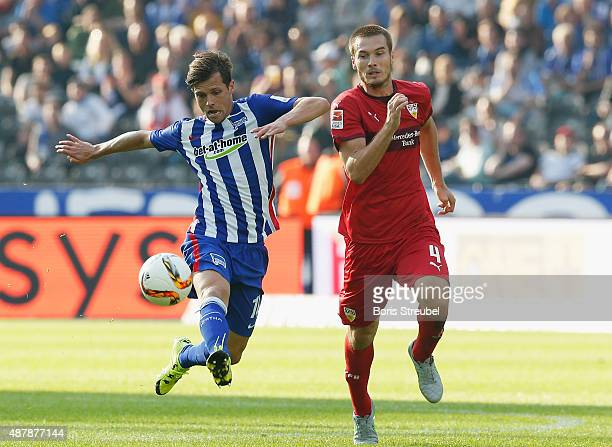 Valentin Stocker of Berlin and Toni Sunjic of Stuttgart battle for the ball during the Bundesliga match between Hertha BSC and Vfb Stuttgart at...