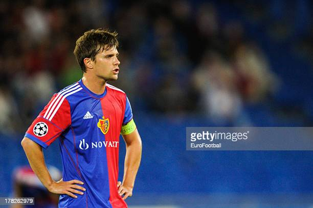 Valentin Stocker of FC Basel 1893 in action during the UEFA Champions League play-off second leg match between FC Basel 1893 and PFC Ludogorets...