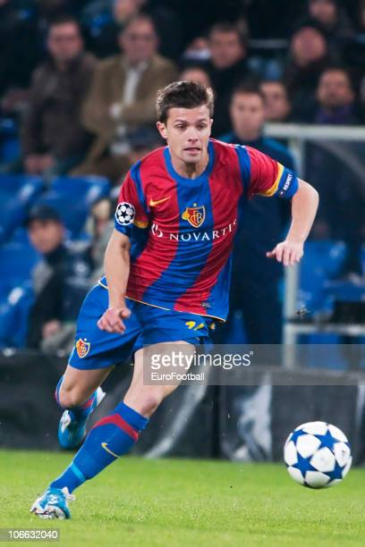 Valentin Stocker of FC Basel during the UEFA Champions League Group E match between FC Basel and AS Roma at St JakobPark Stadium on November 3 2010...