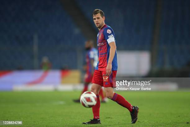 Valentin Stocker of FC Basel reacts during the UEFA Europa League play-off match between FC Basel and ZSKA Sofia at St. Jakob-Park on October 1, 2020...