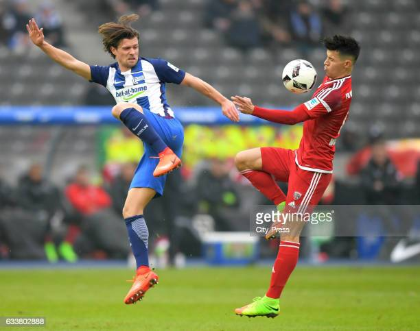 Valentin Stocker of Hertha BSC and Alfredo Morales of FC Ingolstadt 04 during the game between Hertha BSC and FC Ingolstadt 04 on February 4 2017 in...