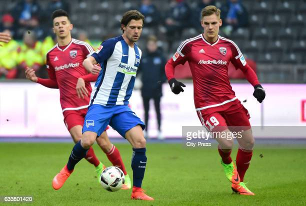 Valentin Stocker of Hertha BSC and Max Christiansen of FC Ingolstadt 04 during the game between Hertha BSC and FC Ingolstadt 04 on February 4 2017 in...