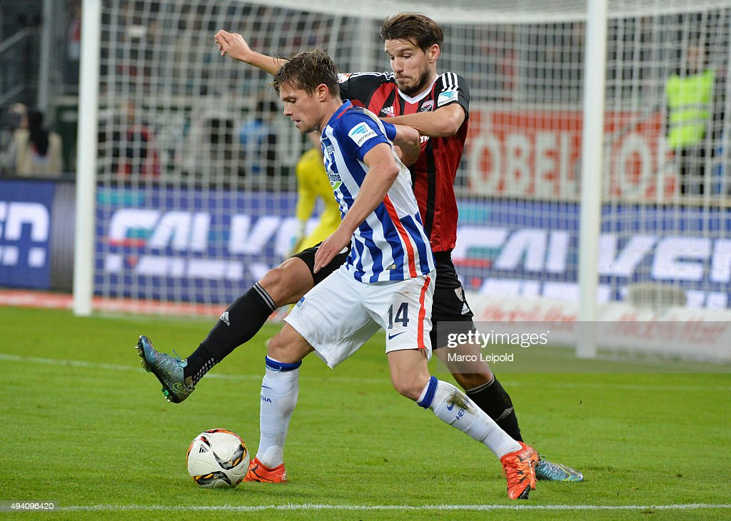 Valentin Stocker of Hertha BSC and Romain Brègerie of FC Ingolstadt during the game between FC Ingolstadt and Hertha BSC on October 24, 2015 in Ingolstadt, Germany.