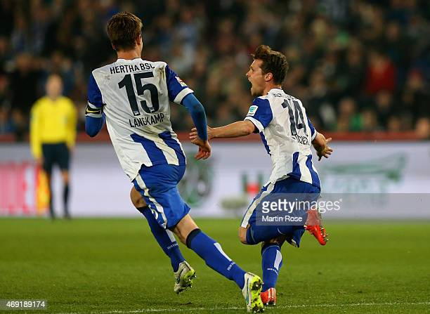 Valentin Stocker of Hertha BSC celebrates as he scores their first goal during the Bundesliga match between Hannover 96 and Hertha BSC at HDIArena on...