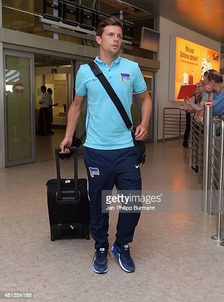 Valentin Stocker of Hertha BSC during their arrival at Salzburg Airport ahead of the training camp in Schladming on July 19 2015 in Salzburg Austria