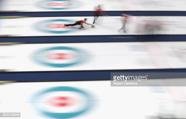 Valentin Tanner of Switzerland competes during the Bronze Medal match between Canada and Switzerland on day fourteen of the PyeongChang 2018 Winter...