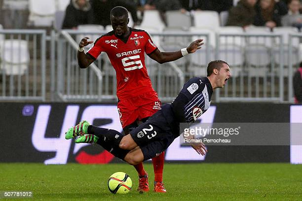 Valentin Vada for Bordeaux battle for the ball with Cheik Mbengue for Rennes during French Ligue 1 match between FC Girondins de Bordeaux and Stade...
