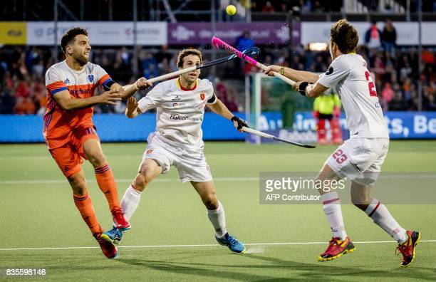 Valentin Verga Netherlands vies with Diego Arana of Spain during the European Hockey Championship match between Netherlands and Spain in Amstelveen...