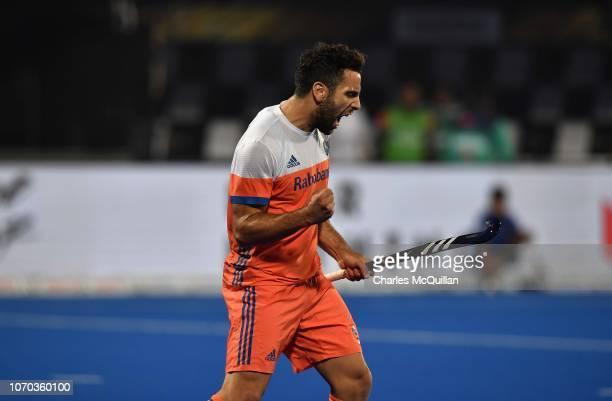 Valentin Verga of Netherlands celebrates after scoring during the FIH Men's Hockey World Cup Pool D match between Netherlands and Pakistan at Kalinga...