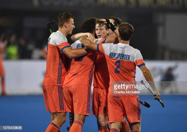Valentin Verga of Netherlands celebrates with team mates after scoring during the FIH Men's Hockey World Cup Pool D match between Netherlands and...