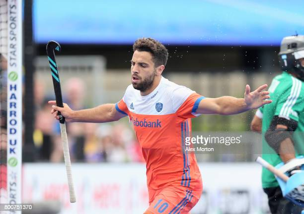 Valentin Verga of the Netherlands celebrates scoring their teams first goal during the final match between Argentina and the Netherlands on day nine...