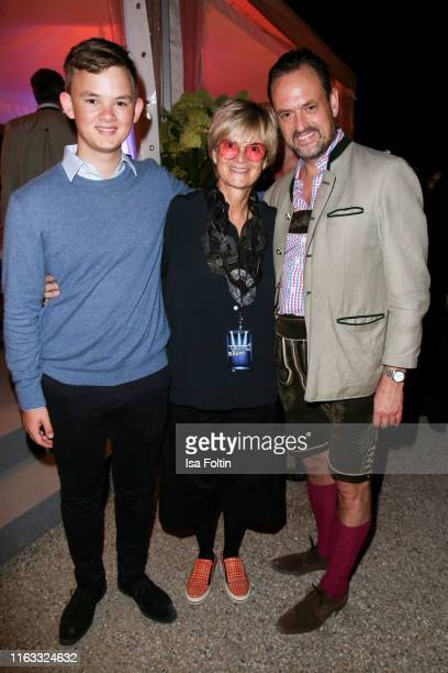 Valentin von SchoenburgGlauchau with his aunt Gloria von Thurn und Taxis and his father Alexander von SchoenburgGlauchau attend the Kool the Gang...