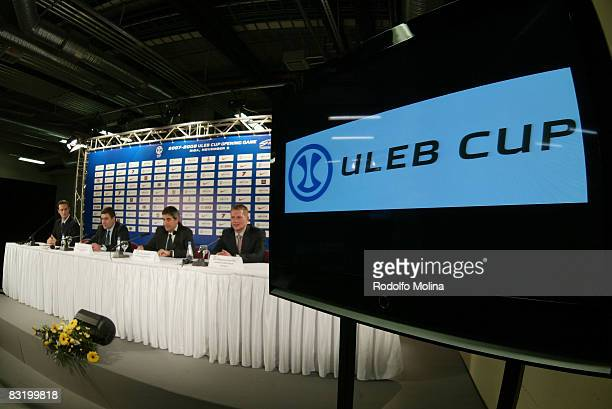 Valentin Zlatev Jordi Bertomeu and Janis Birks during the ULEB Cup Opening Game Press Conference at the Riga Arena on November 05 2007 in Riga Latvia
