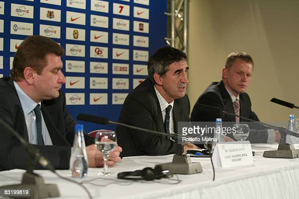 Valentin Zlatev , Jordi Bertomeu and Janis Birks during the ULEB Cup Opening Game Press Conference at the Riga Arena on November 05, 2007 in Riga,...