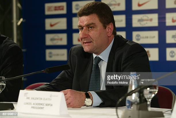 Valentin Zlatev President of Lukoil Academic Sofia during the ULEB Cup Opening Game Press Conference at the Riga Arena on November 05, 2007 in Riga,...