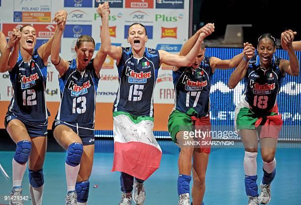 Valentina Arrighetti Eleonora Lo Bianco Antonella Del Core Lucia Bosetti Simona Gioli Taismary Aguero Leiva of Italy celebrate after winning against...