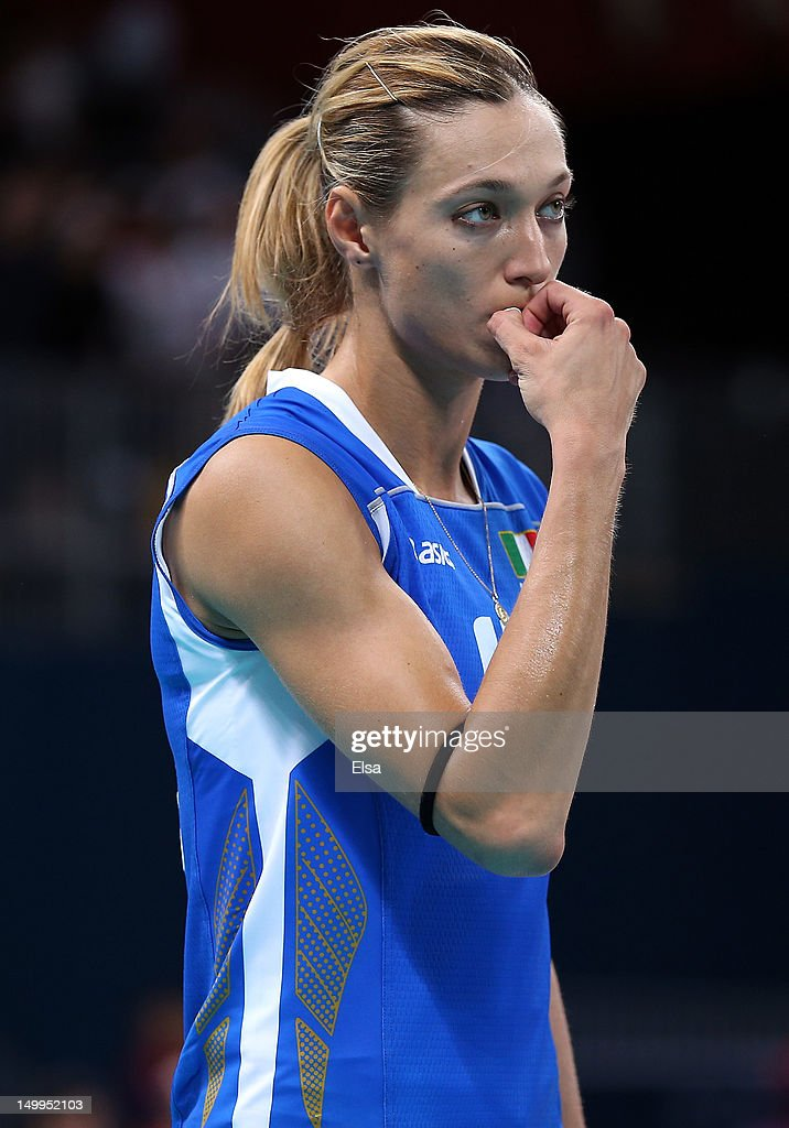 Valentina Arrighetti #13 of Italy reacts after the loss to Korea during Women's Volleyball quarterfinals on Day 11 of the London 2012 Olympic Games at Earls Court on August 7, 2012 in London, England.