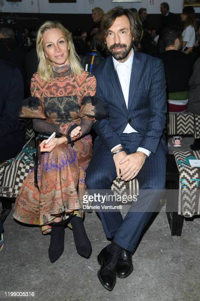 Valentina Baldini and Andrea Pirlo are seen at the Etro fashion show on January 12 2020 in Milan Italy