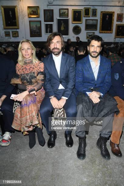 Valentina Baldini Andrea Pirlo and Marco Bocci are seen at the Etro fashion show on January 12 2020 in Milan Italy