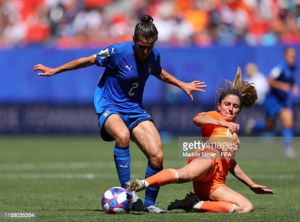 Valentina Bergamaschi of Italy is challenged by Danielle Van De Donk of the Netherlands during the 2019 FIFA Women's World Cup France Quarter Final...