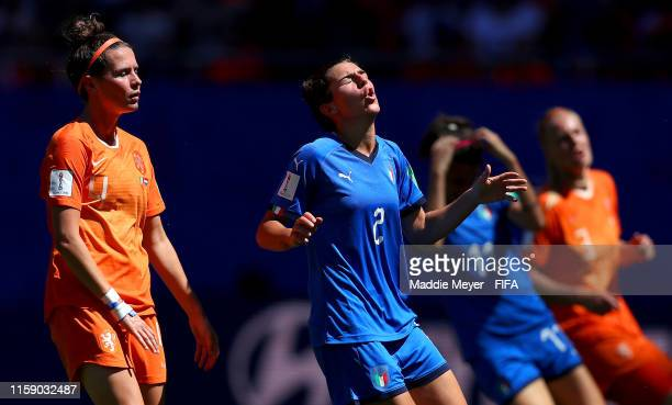 Valentina Bergamaschi of Italy reacts during the 2019 FIFA Women's World Cup France Quarter Final match between Italy and Netherlands at Stade du...