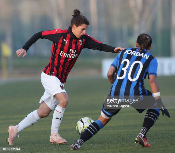 Valentina Bergamaschi of Milan competes for the ball with Adrienne Jordan of Mozzanica during the Women Serie a Match between AC Milan and Mozzanica...