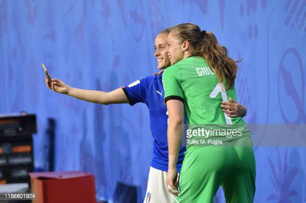 Valentina Cernoia and Laura Giuliani of Italy celebrates the winning of the Group C after the 2019 FIFA Women's World Cup France group C match...